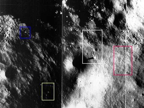 月面を移動した跡
