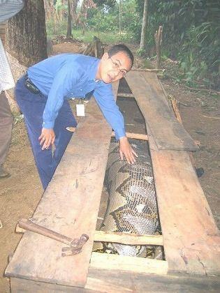 人食いヘビと記念撮影